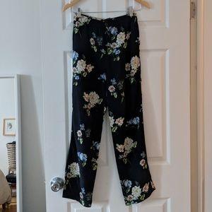 Zara Navy Floral Print Trouser Pants